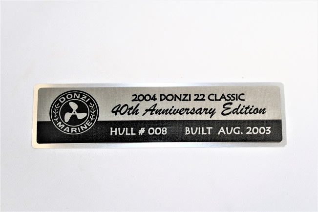 2004 Donzi 22 Classic 40th Anniversary Edition Metal Plaque Decal